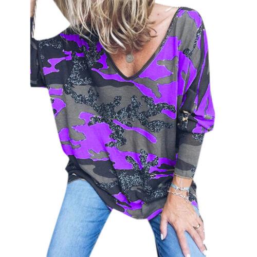 Damen Camouflage Militäris Army Lose Bluse Langarm Oberteil Top T-Shirt Freizeit