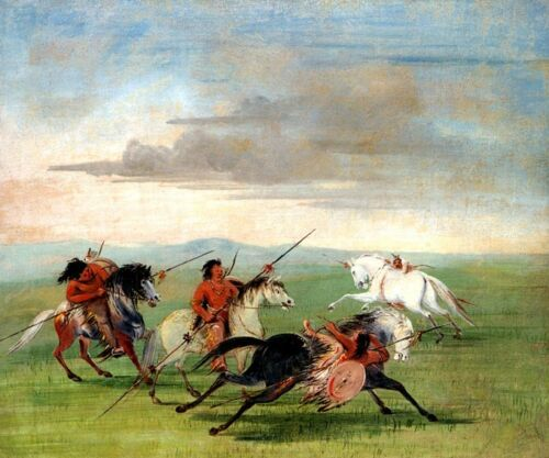 COMANCHE FEATS OF HORSEMANSHIP HORSE AMERICAN INDIAN 1834 BY GEORGE CATLIN REPRO