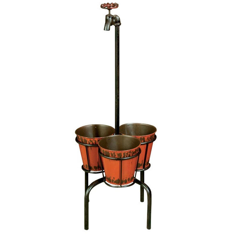 On Tap-Decorativi 3 Pot Fioriera stand-Nero Marronee ZPGXIB018