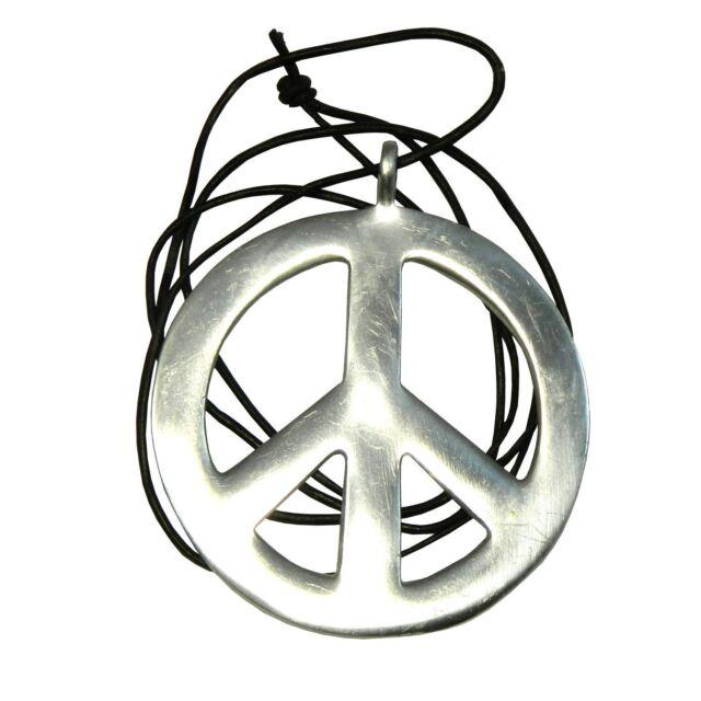 b68ada3cdf1d Peace Anhänger silber Lederkette Frieden Hippie Schmuck Halskette PORTOFREI