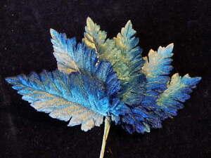 Vintage-Millinery-Flower-3-5-034-Multi-Blue-Shade-Velvet-Leaf-Lot-6p-Hat-Hair-Z38