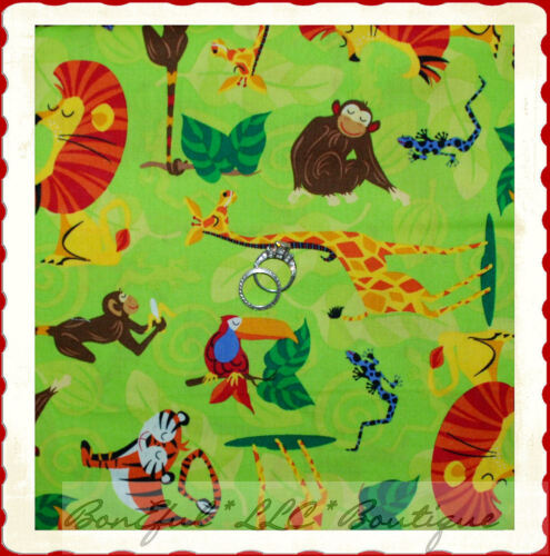 BonEful Fabric FQ Cotton Jungle Animal Safari Wild Zoo Green Leaf Lizard Monkey