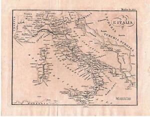 Cartina Italia 1810.Italia Sicilia Sardegna Carta Geografica C A 1850 Ebay