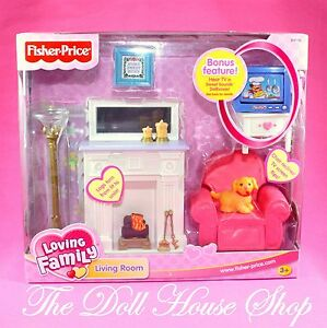 New fisher price loving family sweet sounds dollhouse living room tv television for Fisher price loving family living room