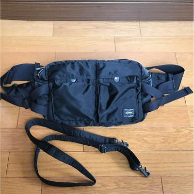 Used Yoshida Porter 622-08302 Tanker Waist Bag L Black F//S from Japan