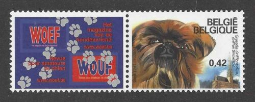 Art Full Body Study Postage Stamp BRUSSELS GRIFFON DOG Belgium 2002  2 x MNH