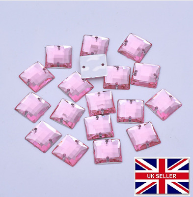 PACK OF 100  Pink GEMS Square Jewel Sew on Dance Crystal Dressmaking Costume #6