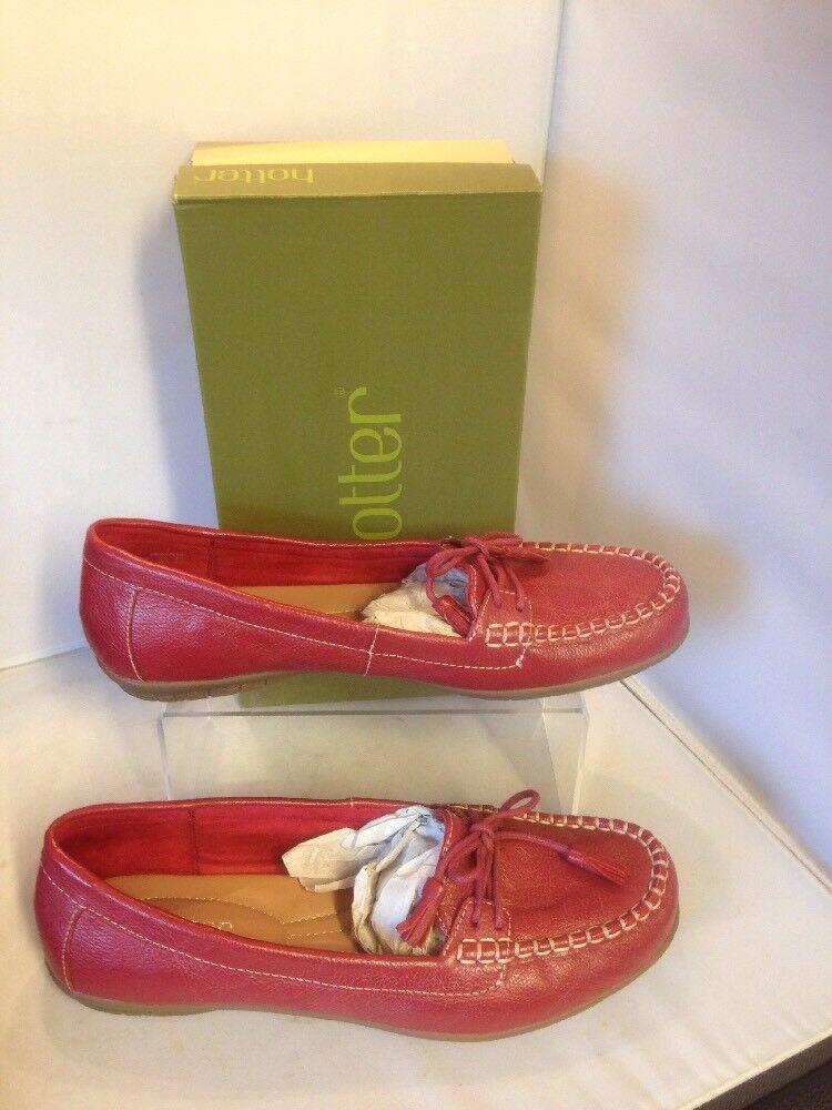 Más caliente Rojo Talla Damas Sin Cordones Zapatos Talla Rojo 9 Nuevo con Caja comodidad Honiton estándar 97f0a4