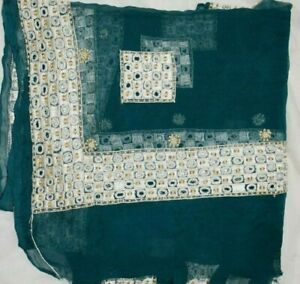 Vintage-Dupatta-Long-Stole-Chiffon-Silk-Blue-Veil-Hand-Beaded-Boder-Tie-amp-Dy
