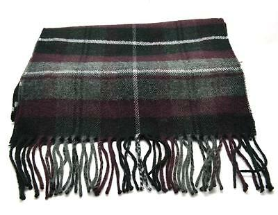 SK262 Unisex Plaid Patterned Warm Winter Scarf With Fringing Grey//Navy