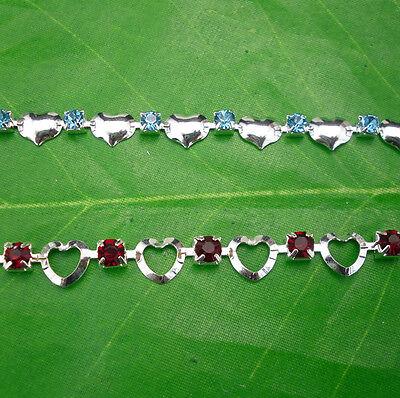 crystal glass rhinestone heart to heart close silver chain trims Applique 1 yard