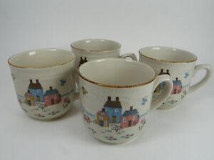 Vintage HEARTLAND Country Farm Scene Cups Mugs SET of 4 International China EXC