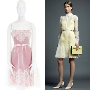 VALENTINO-2013-white-floral-lace-silk-trimmed-bow-belt-pink-lined-dress-IT40-S
