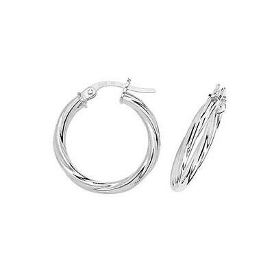 New Ladies Jewellery 9ct Yellow /& White Gold Twisted Hoop Earrings Gift Boxed