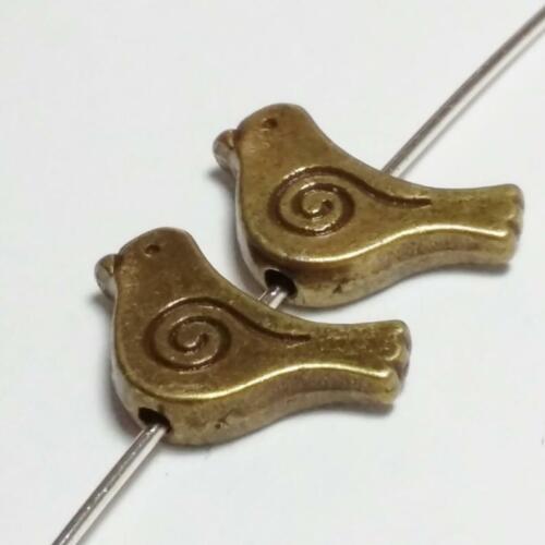 15x12mm Bronce Antigua granos de Aves Joyería Crafts-B13466 10 un