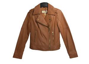 6b41750256e0 Image is loading MICHAEL-Michael-Kors-Luggage-Leather-Moto-Jacket