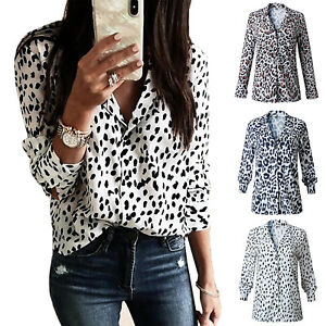 e645374845287 Women Leopard Print V Neck Shirt Top Ladies OL Casual Long Sleeve T ...