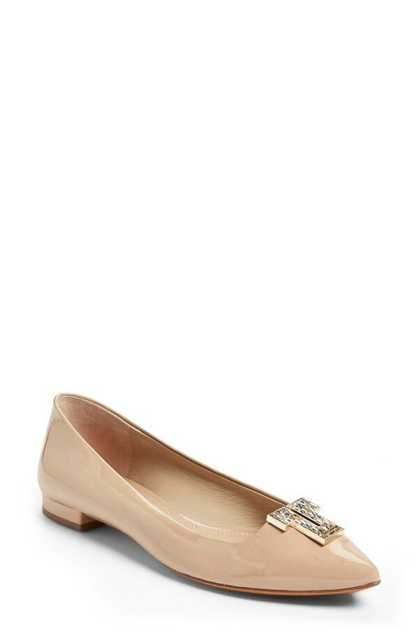 New in Box  295+ Tory Burch deco T Crystal Logo Plat Chaussures Cuir Verni Beige Nude 7.5