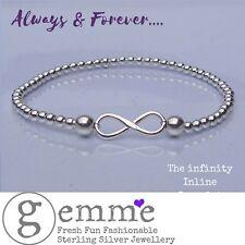 Apilamiento Conector de plata esterlina pulsera con dijes infinity