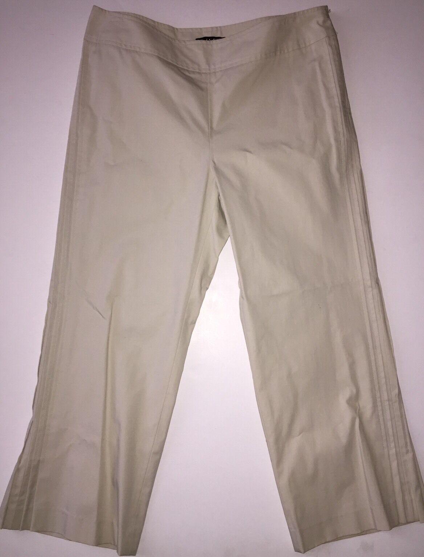 NEW Anthropologie Think Tank Stretch Cotton Faille Crop Pleat Hem Pant 10  118