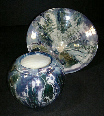 """Pottery Pottery, Porcelain & Glass Bright British Studio Art Pottery Lustre Vase And Bowl Signed """"j L"""" To Make One Feel At Ease And Energetic"""