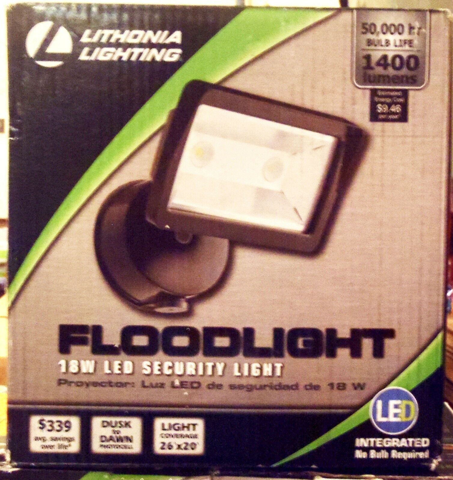 Lithonia OLFL 14 PE BZ M4 Security LED Dusk-to-Dawn Floodlight Bronze