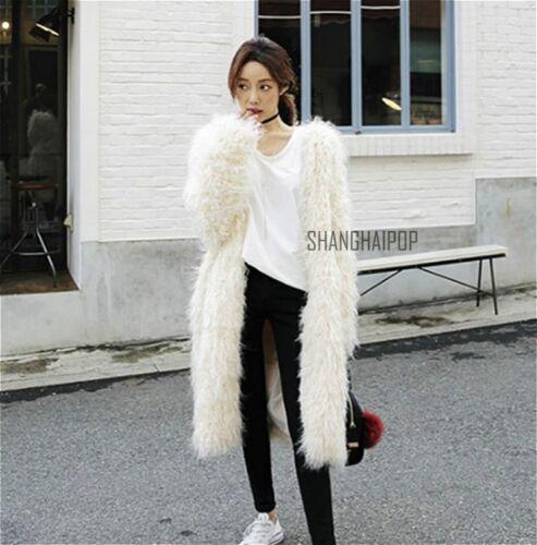 Ladies Women Long Hairy Faux Fur Coat Winter Warm Jackets Shaggy Outerwear New