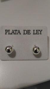 2-Pendientes-de-bola-Plata-de-1-Ley-925-bolas-de-7-mm