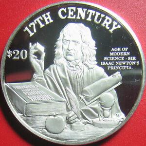 1997-COOK-ISLANDS-20-SILVER-PROOF-SIR-ISAAK-NEWTON-PRINCIPAL-SCIENCE-APPLE-RARE