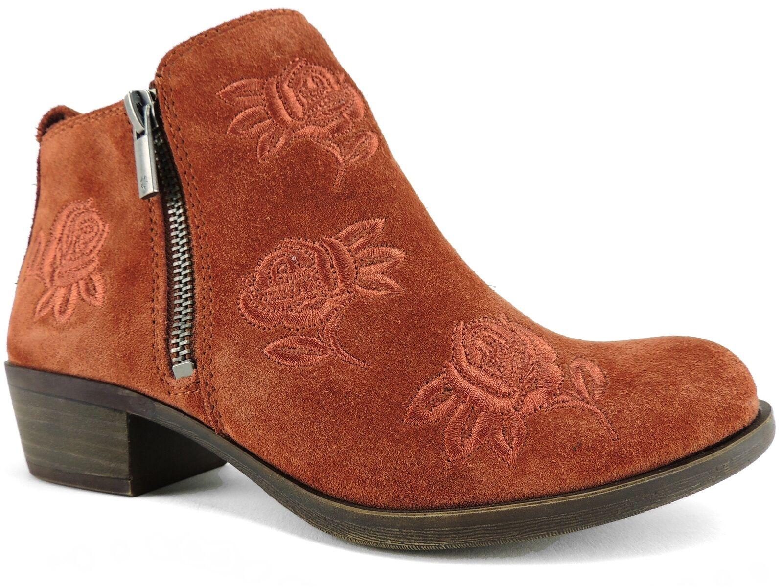 Lucky Brand Women's Basel Booties Red Oak Oiled Suede Size 7 M