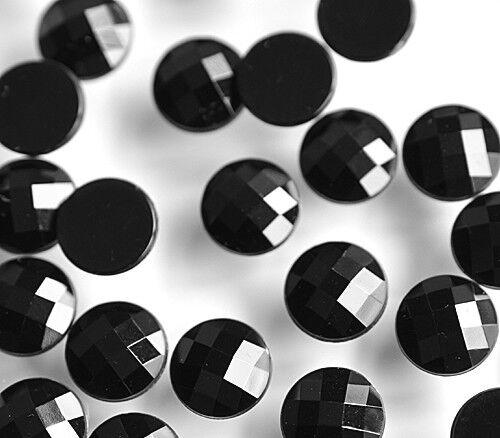 100 St facettierte Cabochons Perlen-Steine 9x3 mm zum Einkleben oder Aufkleben