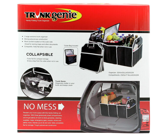 Trunk/Boot Genie Collapsible Organiser 3 Compartments + Cooler Bag Easy Storage