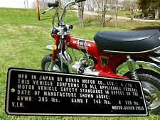1972 HONDA CT 70 MOTOR DRIVEN CYCLE Mini trail DAX Frame ID TAG Data Plate 4/72