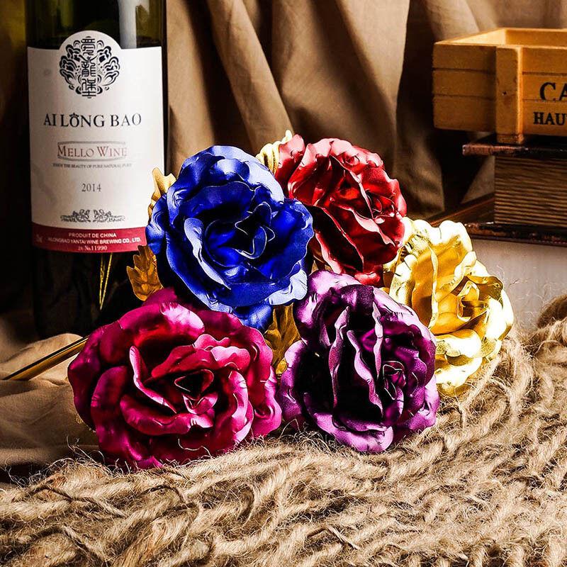 2PS Goldfolie Goldene Rose 24K Blume vergoldet Valentinstag Geburtstag Geschenk 3