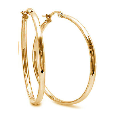 "2"" Stunning Stainless Steel Yellow Gold Plated Hoop Earrings (50mm Diameter)"