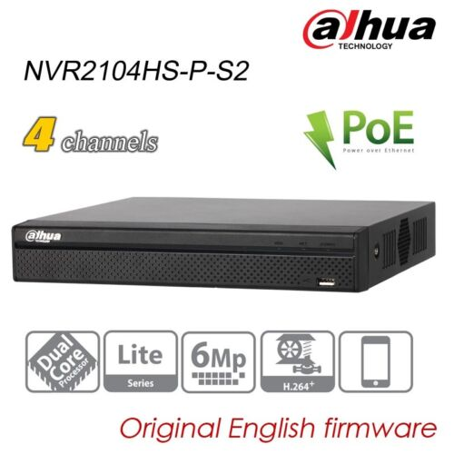 Dahua POE NVR For IP Security Camera H.264 4CH 6MP SATA P2P NVR2104HS-P-S2