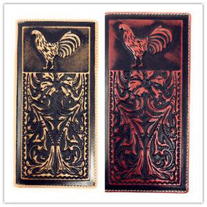Western Genuine Leather Eagle Plain Mens Bifold Short Wallet In 2 Color
