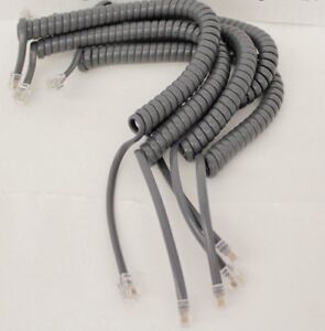 Lot of 5 Cisco 7900 IP Series 12ft Exact Gray Phone Handset Receiver Coil Cords