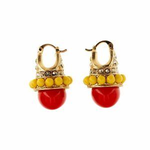 Boucles-d-039-Oreilles-Dormeuse-Dore-Mini-Perle-Rouge-Jaune-Retro-Vintage-QD1