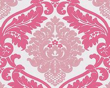 BlingBling Glitter Damask Wallpaper Shocking Pink