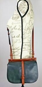 Fossil-Brown-Black-Leather-Flap-Front-Crossbody-Bag-Small-Medium-Adjust-Strap
