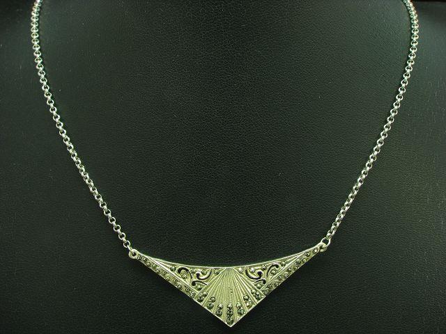 925 Sterling silver Collier mit Markasit Besatz   Halskette   35,9cm   7,0g