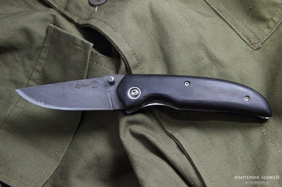 Russian Folding knife  Irbis   Kizlyar knives Damascus Steel Hornbeam handle  new branded