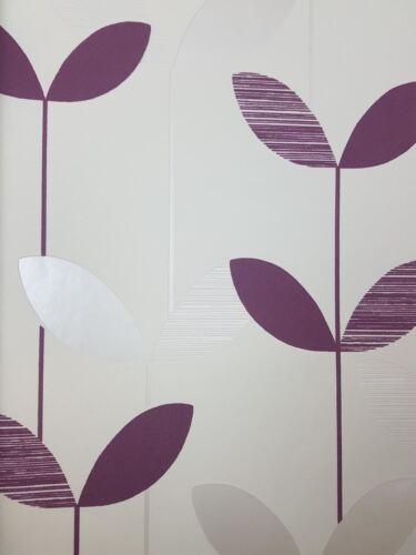 Floral Violet Blanc Feuille Papier Peint Coller le mur Perlé Fleur Texturé