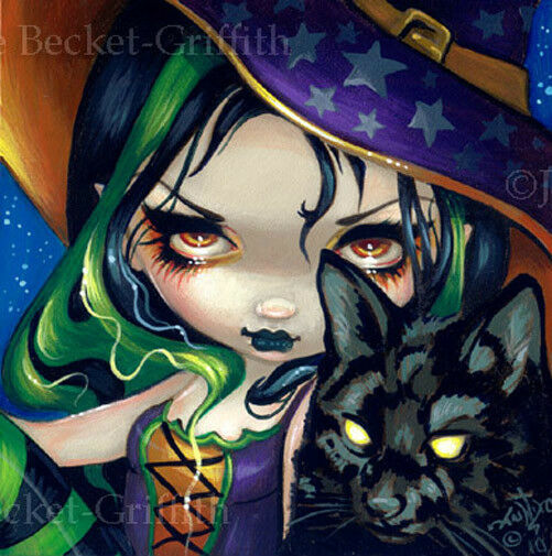 Fairy Face 114 Jasmine Becket-Griffith SIGNED 6x6 PRINT blackcat witch halloween