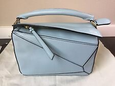 LOEWE PUZZLE CALFSKIN Leather Hand Tote Bag Small In Aqua