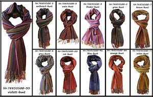 Weicher-Webschal-aus-100-Merinowolle-verschiedene-Farben-gestreift