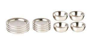 Silver-Dishes-12-Piece-Set-Dolls-House-Miniature-Miniatures-Bowls-Plates-etc
