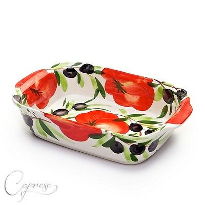 Gartöpfe & Bräter Sensible Bassano Keramik Auflaufforme BrÄter Tomaten Mit Olive Motiv Aus Italien Neu Bright And Translucent In Appearance