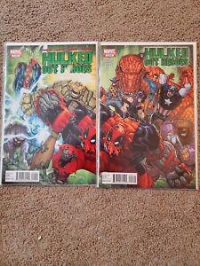 Hulked-Out-Heroes-1-2-Complete-Set-Marvel-2010-Hulkpool-Deadpool-Red